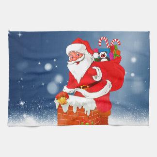 Cute Santa Claus with Gift Bag Christmas Snow Star Towel