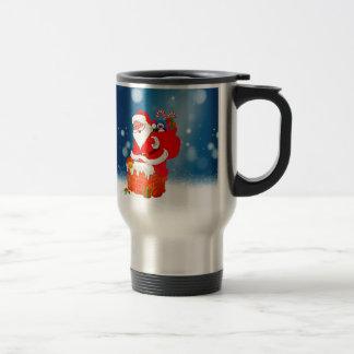 Cute Santa Claus with Gift Bag Christmas Snow Star Travel Mug