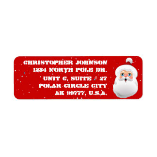 Cute Santa Claus With Rosy Cheeks Return Address Label