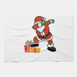 Cute Santa dabbing on gift Christmas T Shirt Kitchen Towel