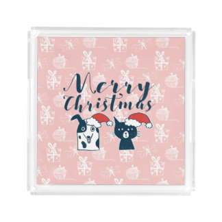 Cute Santa Dog & Cat Illustration Christmas Acrylic Tray