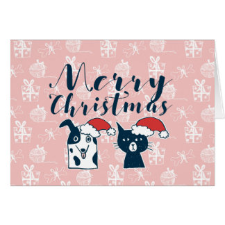 Cute Santa Dog & Cat Illustration Christmas Card