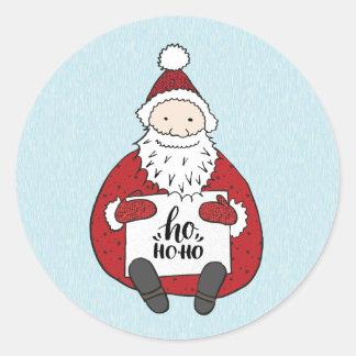 Cute Santa drawing Christmas Classic Round Sticker
