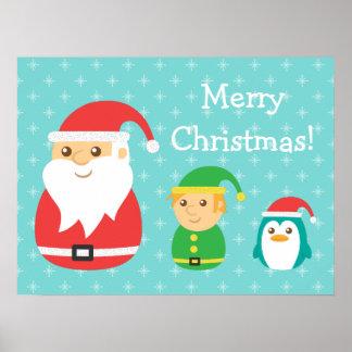 Cute Santa Elf Penguin Christmas Decor Poster