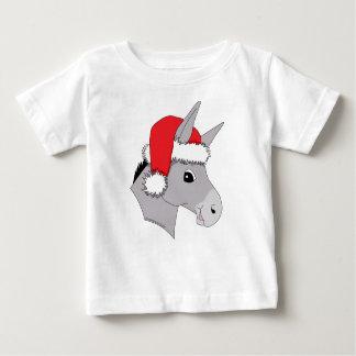 Cute Santa Hat Christmas Donkey Baby T-Shirt
