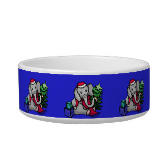 Cute Santa Hat Christmas Elephants Medium Bowl