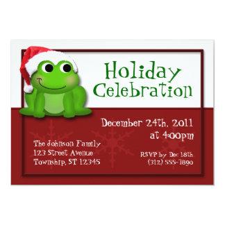 "Cute Santa Hat Froggy Holiday Party Invitations 5"" X 7"" Invitation Card"