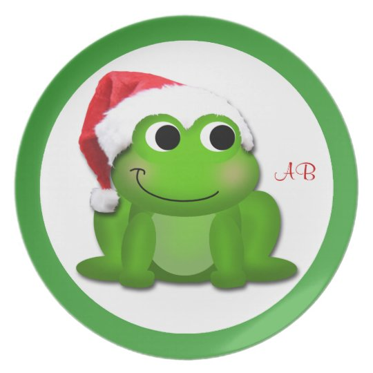 Cute Santa Hat Froggy - Personalized Plate