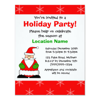 Cute Santa Holiday Party Invitation