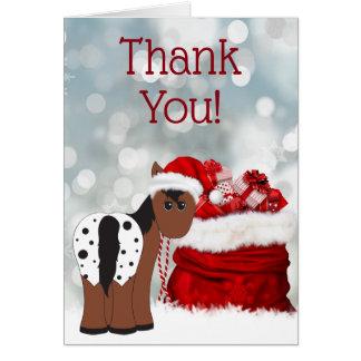 Cute Santa Horse and Gifts Holiday Thank You Card