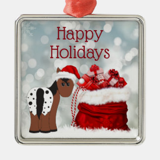 Cute Santa Horse n Gifts Happy Holidays Christmas Metal Ornament