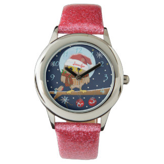 Cute Santa Owl with custom clock numbers and name Wrist Watch
