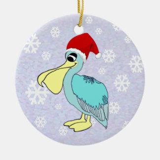 Cute Santa Pelican Ornament