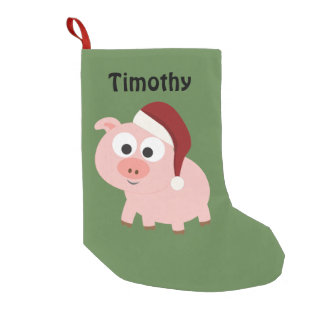 Cute Santa Pig Small Christmas Stocking