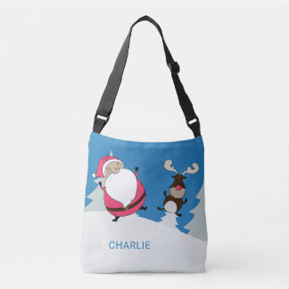Cute Santa & Reindeer custom name bags