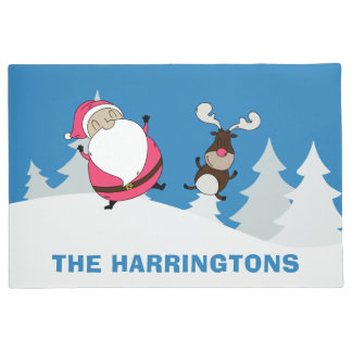 Cute Santa & Reindeer custom name door mats