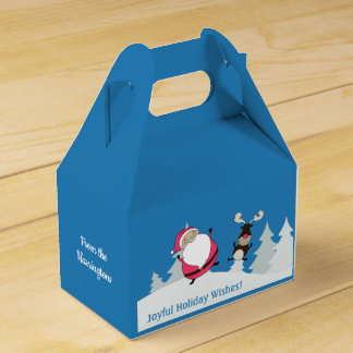 Cute Santa & Reindeer custom text favor box