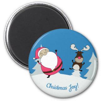 Cute Santa & Reindeer custom text magnet