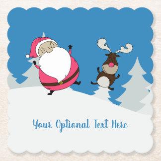 Cute Santa & Reindeer custom text paper coasters