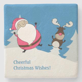 Cute Santa & Reindeer custom text stone coasters