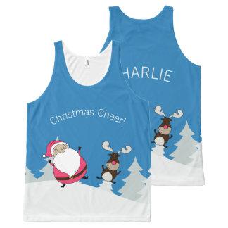 Cute Santa & Reindeer custom text tank top