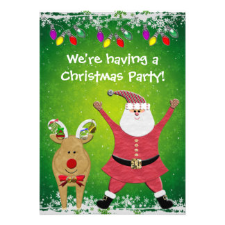 Cute Santa Rudolph Christmas Party Invites