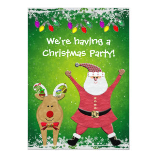 Cute Santa & Rudolph Christmas Party Invites