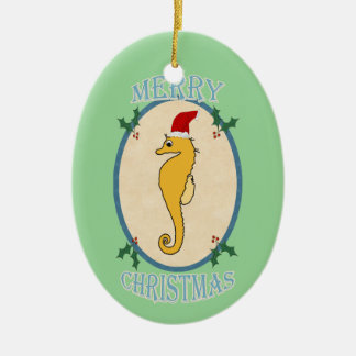 Cute Santa Seahorse Christmas Blue Green Ceramic Ornament