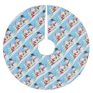 Cute Santa Snowman Christmas Xmas Gift Brushed Polyester Tree Skirt