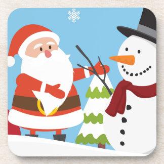 Cute Santa Snowman Christmas Xmas Gift Coaster