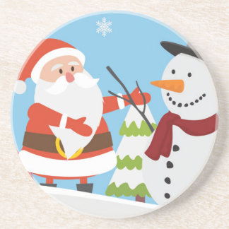 Cute Santa Snowman Christmas Xmas Gift Coasters