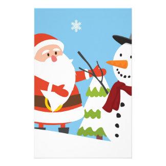 Cute Santa Snowman Christmas Xmas Gift Custom Stationery