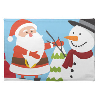 Cute Santa Snowman Christmas Xmas Gift Placemat