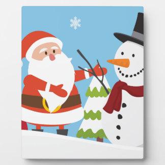 Cute Santa Snowman Christmas Xmas Gift Plaque