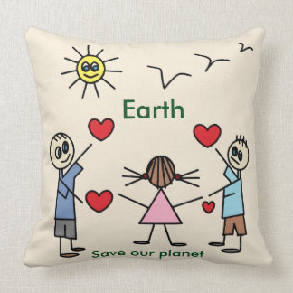 Cute Save our planet Earth Love Peace Message Throw Pillow