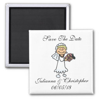Cute Save The Date Magnets Bride Bridal Bouquet
