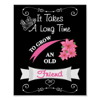 Cute Saying For An Old Friend Typography Poster