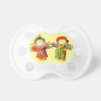 Cute Scarecrow Couple Holding Hands Pacifiers