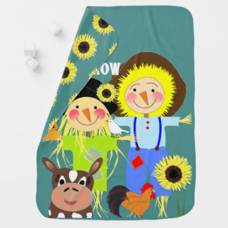 Cute Scarecrow Farm Animal Friends Whimsy Picture Baby Blanket