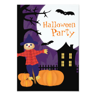 Cute Scarecrow Halloween Party Invitation