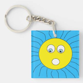 Cute Scared Sun Face Design Blue Keychain