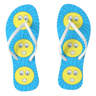 Cute Scared Sun Face Drawing Blue Flip Flops