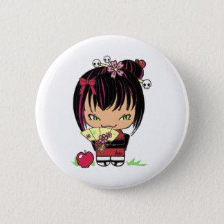Cute Scary Miao - gothic kokeshi doll 2 Inch Round Button