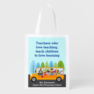 Cute School Bus Owl Driver Reusable Grocery Bags