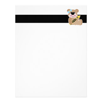 cute school girl bear with yellow crayon customized letterhead
