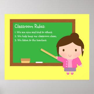 Cute School Teacher Classroom Rules Poster