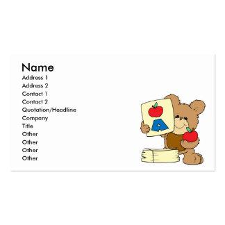 cute school teddy bear A is for Apple Business Cards