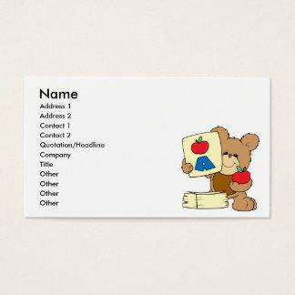 cute school teddy bear A is for Apple Business Card