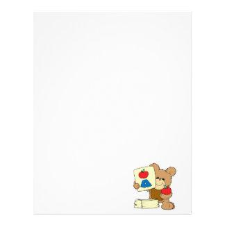 cute school teddy bear A is for Apple Customized Letterhead