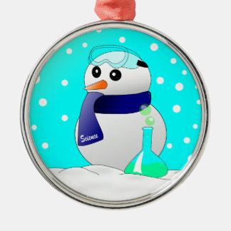 Cute Science Snowman Silver-Colored Round Ornament